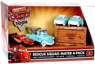 Mattel Disney Pixar Cars Toon Exclusive Series 1:55 Scale Die Cast Car Figure Set - RESCUE SQUAD MATER 4 PACK with Burnt Lightning McQueen, Dr. Mater, Nurse Mia and Nurse Tia