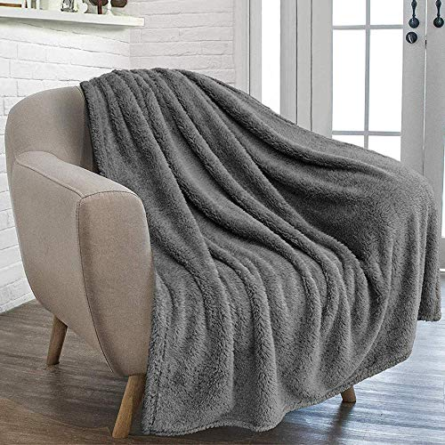 furrybaby Premium Fluffy Fleece Dog Blanket, Soft and Warm Pet Throw for Dogs & Cats (X Large (41×65), Grey Blanket)