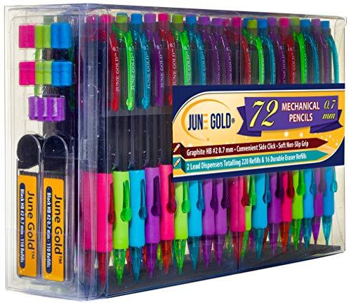 June Gold 72 Mechanical Pencils, 0.7 mm HB #2 Lead, 2 Lead Dispensers/w 220 Refills & 16 Refill Erasers, Break Resistant Lead, Convenient Side Click & Soft Non-Slip Grip