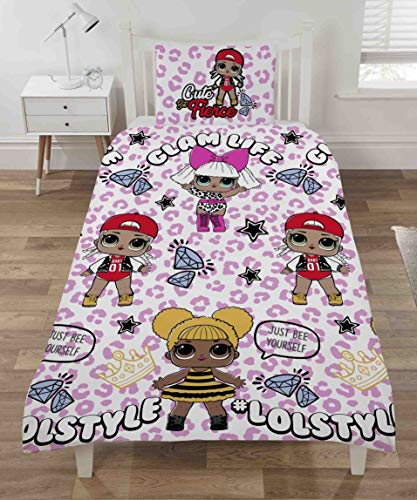Character Linens L.O.L. Surprise Style Single Duvet Cover Set with Pillowcase - Reversible Design