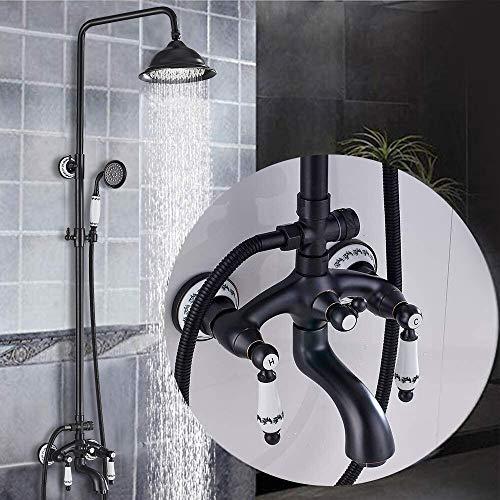 SUGU Schwarz Duschsystem mit schwenkbarer Duscharm für die Wandmontage | Badzimmer Duscharmatur inkl. 150cm Brauseschlauch Blue and white porcelain
