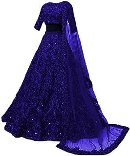 GE Export Women's Silk Semi stitched Lehenga Choli (Royal Blue Large) Amz Lehenga 0057