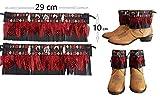 Cubrebotas, adorno para botas Mujer Etnico Country. Plumas Naturales Rojas. Estilo Cowboy. Color Polipiel a elegir en opciones