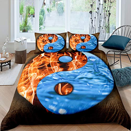 Castle Fairy Flame Water Tai Chi Pattern Comforter Set Teen Boys Young Girls 3D Pattern Bedding Cover Sets King Microfiber Soft 3 Pieces Duvet Sets(1 Duvet Cover 2 Pillow Cases)