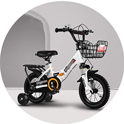 HAIZHEN Bicicletta Pieghevole for Bambini, 12/14/16 / 18inch del Ragazzo della Bicicletta Sportiva, Doppio Freno Carbonio/Acciaio Telaio della Bicicletta (Color : White, Size : 14inch)