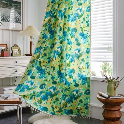 Tende da finestra semi-oscuranti mimetiche verdi 1 pezzo per soggiorno camera da letto, stile asta 59 'L x 78,7' L (150x200 cm)