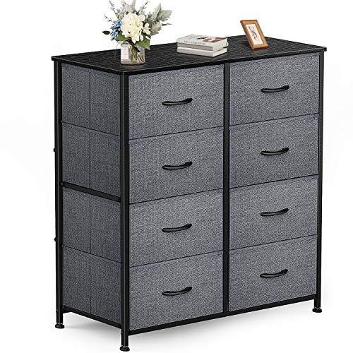 Yesker Dresser with 8 Drawers for Bedroom - Storage Tower, Bedside Furniture & Night Stand End Table Dresser for Home, Office, College Dorm, Sturdy Steel Frame Organizer, Wood Top (dark Grey)