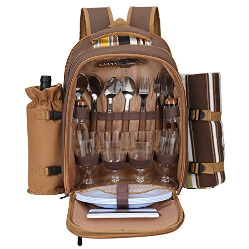 SEAAN Mochila de Picnic para 4 Personas, Mochila de Aislamiento térmico portátil Multifuncional con vajilla, Estera de Camping para Picnic al Aire Libre (marrón)