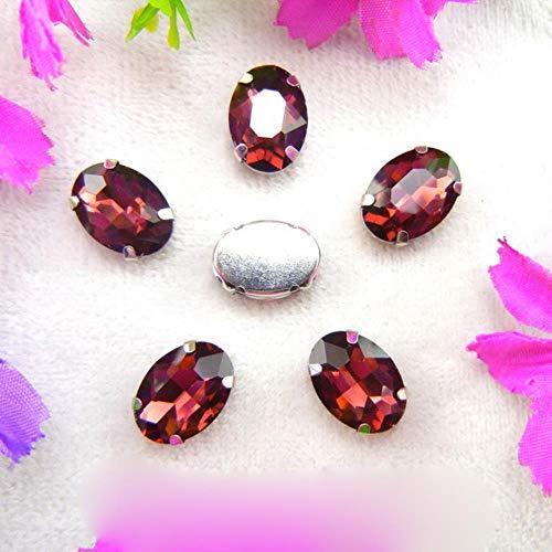 Configuración de garra de cristal de plata de cristal 7 Tamaños mezcla de colores Forma ovalada Coser en cuentas de diamantes de imitación cristales prendas de vestir zapatos bolso adorno de bricolaje