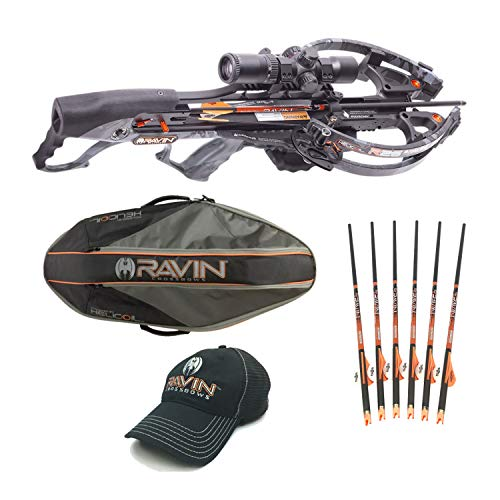 Ravin Crossbows R26 400 FPS Predator Hunter039;s Crossbow Bundle (Dusk Grey) with Soft Case, 6 Carbon Arrows and HME Broadheads
