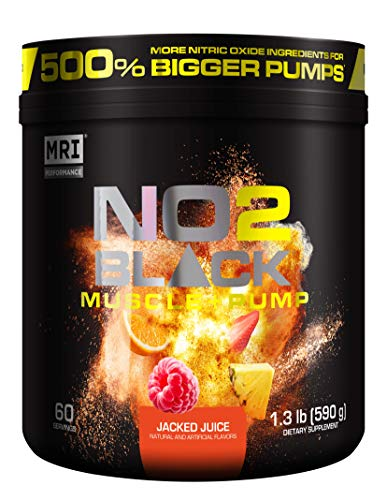 MRI NO2 Black Nitric Oxide Supplement for Pump, Muscle Growth, Vascularity & Energy - Powerful NO Booster Pre-Workout with Citrulline + 60 Servings (Jacked Juice)