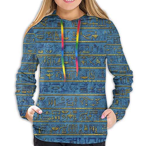 Sudadera con capucha para mujer, diseño de Jeroglíficos egipcios, color dorado y azul