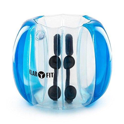 Klarfit Bubball KB - Bubble Ball, Blasen-Fußball, Bubble Soccer, 75x110 cm, Schultergurte und Handgriffe im Inneren, 8 Luftkammern, transparente Frontseite, elektrischer Pumpe, blau