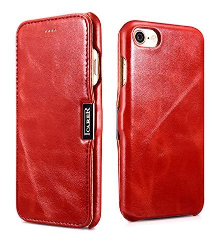 ICARER Tasche passend für Apple iPhone SE 2020, iPhone 8 und iPhone 7 (4.7 Zoll), Case mit Echt-Leder Außenseite, Schutz-Hülle seitlich aufklappbar, Ultra-Slim Cover, Etui im Vintage Look, Rot