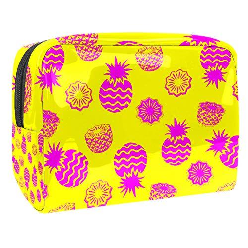Bolsa de maquillaje portátil con cremallera, bolsa de aseo de viaje para mujer, práctica bolsa de almacenamiento cosmético, piña amarilla
