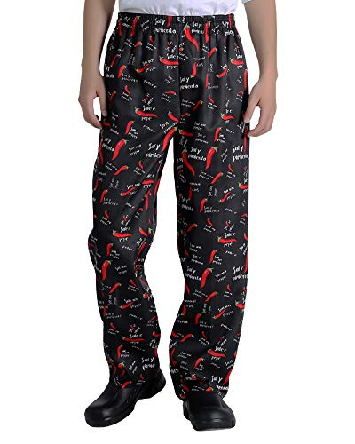 Men's and Women's Baggy Printed Chef Pants Kitchen Uniforms with Elastic Waist Pants New Chili L