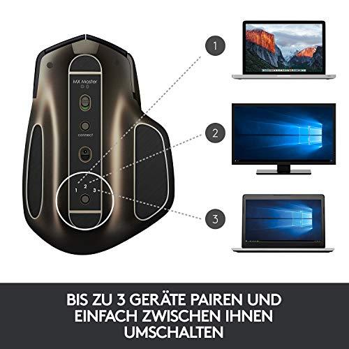 Logitech MX Master Kabellose Maus Amz, Bluetooth/2.4 GHz Verbindung via Unifying USB-Empfänger, 1000 DPI Sensor, Wiederaufladbarer Akku, Multi-Device, Für alle Oberflächen, 5 Tasten, PC/Mac - schwarz - 2