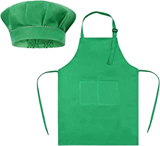 SUNLAND Kids Apron and Hat Set Children Chef Apron for Cooking Baking Painting, Green, Medium