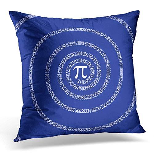 Jhonangel Throw Pillow Cover Cute Symbol Numbers Spiral for Pi on Navy Funny Mathematics Funda de Almohada Decorativa Decoración del hogar Funda de Almohada Cuadrada 18x18 Pulgadas
