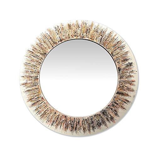 Lohoart E-5005-O - Espejo sobre Lienzo Pintado Artesanal, Espejo Pared Color Oro, diámetro Espejo: 90 cm (Marco 15 cm)