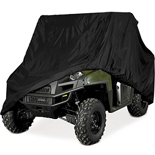 Heavy Duty Waterproof Superior UTV Side By Side Cover Fits Up To 120L W/Roll Cage Black ATV Cover Compatible with Rhino Ranger Mule Gator Prowler Yamaha Prowler Rancher Foreman FourtraX Recon 4X4