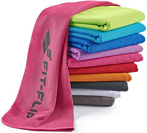 Fit-Flip Toalla de enfriamiento 100x30cm, Toalla de Deporte refrescante, Toalla fría, Cooling Towel, Toalla de Microfibra – Color: Rosa, tamaño: 100x30cm