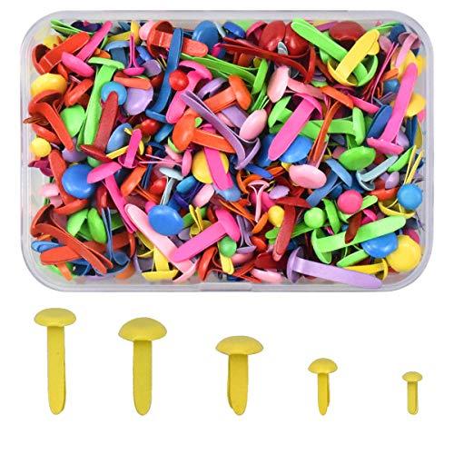 NATUCE 400 Stück Bunt Mini Brads Metall Rundkopfklammern Musterklammern Papierverschlüsse zum Kartenherstellung Scrapbooking DIY Handmade Crafts, Musterbeutelklammern Rundkopf für Handwerk