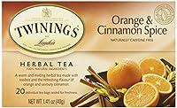 Twinings ハーブティー オレンジ シナモンスパイス 天然カフェインフリー ティーバッグ20袋入り 1 41 オンス 40 g