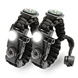 LeMotech 21 in 1 Adjustable Paracord Survival Bracelet, Tactical Emergency Gear Kit Includ...