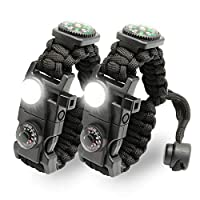 21-in-1-Survival-Armband: Es enthält mehr Survival-Werkzeuge: Kompass, SOS-LED-Licht, Feueranzünder, Pfeife, Werkzeugkarte, T-förmiges Messer, Thermometer, tragen Sie diese während der Reise, es ist nicht nur eine Dekoration, sondern auch ein Surviva...