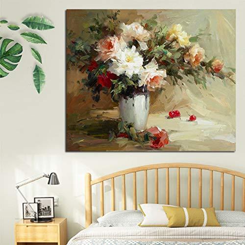 N / A Rahmenlose Malerei Poster helle Blumen in Vasen und Florale Wanddekoration in der Szene für homeZGQ9149 60x90cm