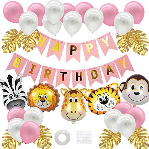 WENTS Deko Kindergeburtstag, Dschungel Geburtstag Dekorationen, Folienballon Tiere, Mädchen Geburtstag Dekorationen für Junge
