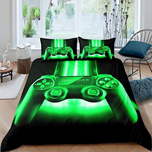 Loussiesd Gamepad - Juego de ropa de cama para niñas y niños, juego de videojuegos, funda de edredón 3D, funda de edredón moderna para consola de jugador de tamaño individual, colección de 2 piezas