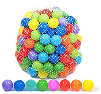 Playz 50 Soft Plastic Mini Ball Pit Balls w/ 8 Vibrant Colors - Crush Proof No Sharp Edges Non Toxic Phthalate & BPA Free for Baby Toddler Ball Pit Play Tents & Tunnels Indoor & Outdoor