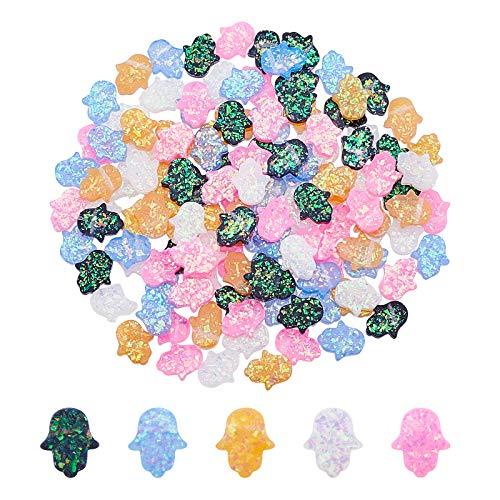PandaHall 150 cuentas de resina de 5 colores de mano de Hamsa, mano de Fátima, mano de Miriam, cuentas espaciadoras de ópalo de imitación para pulseras y collares