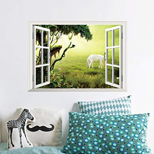 YJX3d muursticker nep raam prairie wit paard woonkamer slaapkamer achtergrond sticker kan worden verwijderd