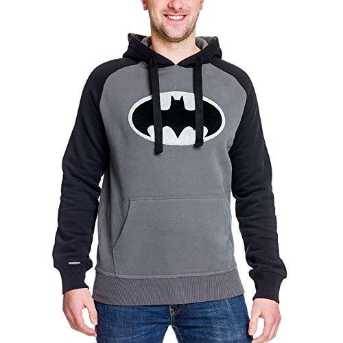 Batman Herren Hoodie Black Logo Kapuzen Pullover DC Comics Elbenwald grau schwarz - L