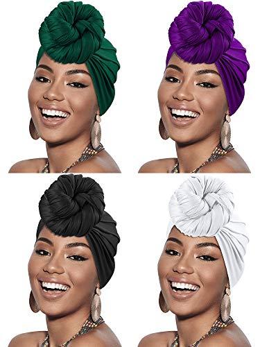4 Pieces Head Scarf Turban Long Hair Head Wrap Scarf Soft Stretch Headwrap Headband Solid Color Turban Tie (Black, White, Green, Purple)