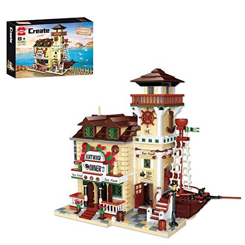HYZM Modelo de bloques de construcción de 2237 piezas modular caseta restaurante con minifiguras arquitectura creativa casas, compatible con Lego