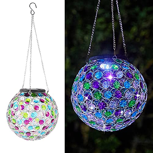 Solar Lantern Hanging Outdoor Decorative, Dual LEDs Color Changing and Cool White Crystal Globe Lamp Hanging Light Waterproof With S Hook Decor In Garden, Pathway, Front Door and Landscape-Multi Color