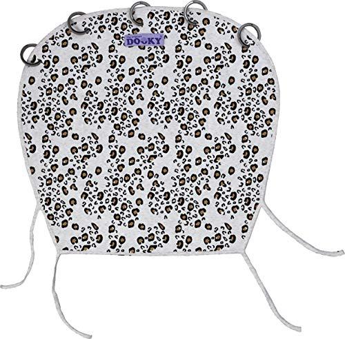 Original Dooky Universal Cover Little Leopard Sonnenschutz, Wetterschutz, TÜV getestet, universale Passform mit Klettband für Babyschale, Kinderwagen und Buggy, weiss