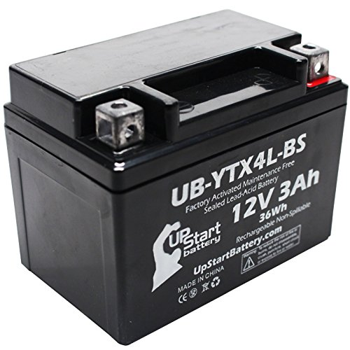 YTX4L-BS Battery Replacement (3Ah, 12v, Sealed) Factory Activated, Maintenance Free Battery Compatible with - 1990 Suzuki DR350S, 1990 Suzuki DR250S, 1993 Suzuki DR350S, 1991 Suzuki DR350S