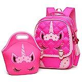 Moonmo Cute Unicorn Face Diamond Bling Waterproof Pink School Backpack Set Girls Book Bag (Large, Rose Set)