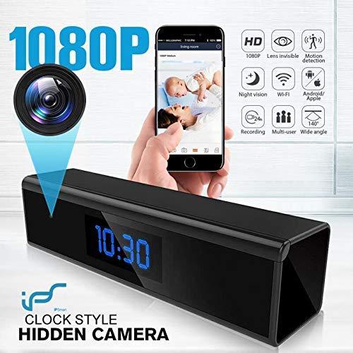 Cámara Espía, Mini Cámara Oculta Reloj con Visión Nocturna con Detección de Movimiento 1080P Cámara Espía Oculta Inalámbrica con Reproducción - Cámara de Vigilancia WiFi Interior