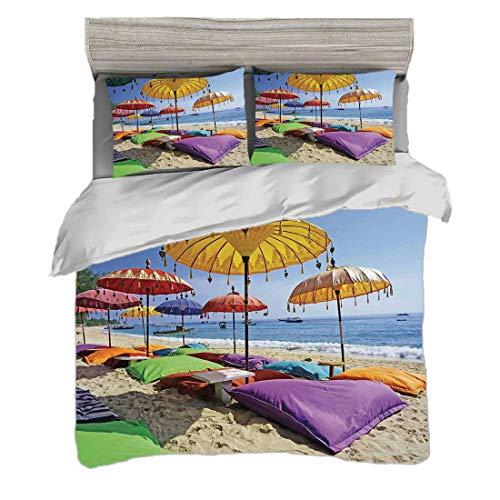 Juego de funda nórdica (150 x 200 cm) con 2 fundas de almohada Decoración balinesa Ropa de cama con impresión digital Playa virgen bañada por la playa de arena de Bali Sombrillas durante el día Almoha
