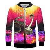 Photo de 3D Full Impression Hommes Starry Flamme Serpent Veste à Manches Longues surdimensionnée Streetwear Hip Hop Jackets Hot Starry Flame Snake XL