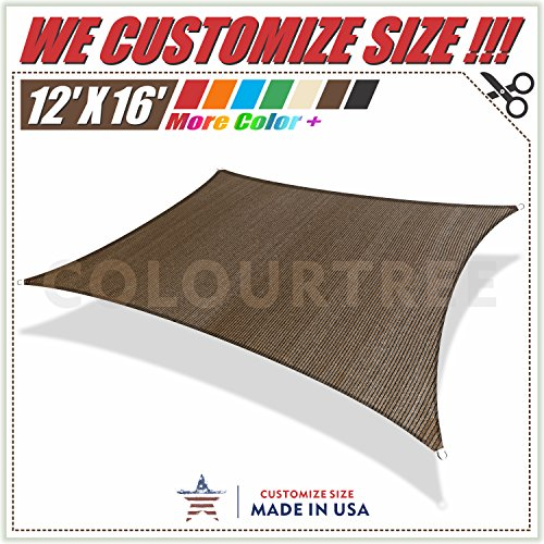 ColourTree 12' x 16' Brown Rectangle Sun Shade Sail Canopy Awning Shelter Fabric Cloth Screen - UV Block UV Resistant Heavy Duty Commercial Grade - Outdoor Patio Carport - (We Make Custom Size)