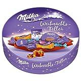 Milka Weihnachts-Teller 1 x 202g, Schokolade in Alpenmilch, Noisette, Weisse und Nougat-Crème