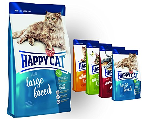 Happy Cat Adult Large Breed 10 kg + 4 x 300g Probierbox