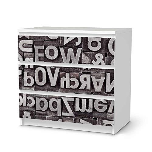 creatisto Wandtattoo Möbel passend für IKEA Malm Kommode 3 Schubladen I Möbeldeko - Möbel-Sticker Aufkleber Folie I Innendekoration für Schlafzimmer und Wohnzimmer - Design: Alphabet